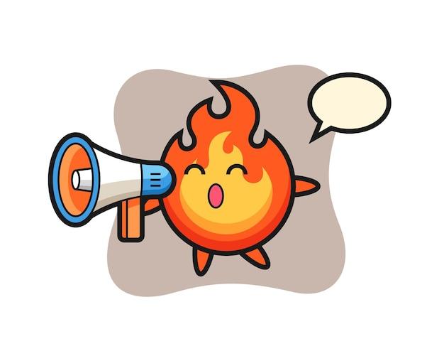 Ilustração de personagem de fogo segurando um megafone, design de estilo fofo para camiseta, adesivo, elemento de logotipo