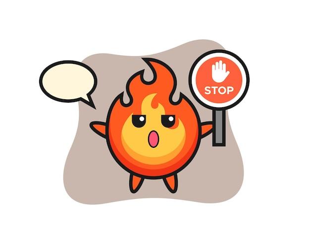 Ilustração de personagem de fogo segurando uma placa de pare, design de estilo fofo para camiseta, adesivo, elemento de logotipo