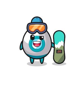 Ilustração de personagem de foguete com estilo de snowboard, design de estilo fofo para camiseta, adesivo, elemento de logotipo