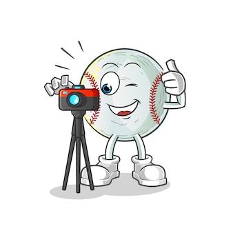Ilustração de personagem de fotógrafo de beisebol