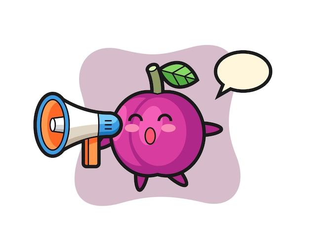 Ilustração de personagem de fruta ameixa segurando um megafone, design de estilo fofo para camiseta, adesivo, elemento de logotipo