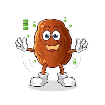 Ilustração de personagem de fruta com bateria cheia