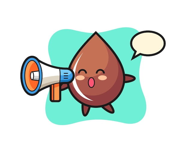 Ilustração de personagem de gota de chocolate segurando um megafone, design de estilo fofo para camiseta, adesivo, elemento de logotipo