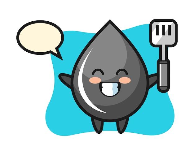 Ilustração de personagem de gota de óleo enquanto um chef cozinha
