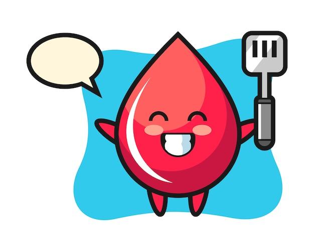 Ilustração de personagem de gota de sangue enquanto um chef cozinha, estilo fofo, adesivo, elemento de logotipo