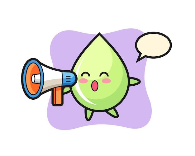 Ilustração de personagem de gota de suco de melão segurando um megafone, design de estilo fofo para camiseta, adesivo, elemento de logotipo