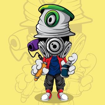Ilustração de personagem de graffiti com tinta spray e marcador