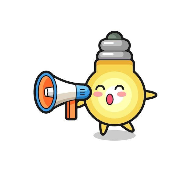 Ilustração de personagem de lâmpada segurando um megafone, design de estilo fofo para camiseta, adesivo, elemento de logotipo