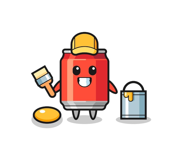 Ilustração de personagem de lata de bebida como pintor, design de estilo fofo para camiseta, adesivo, elemento de logotipo