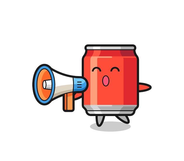 Ilustração de personagem de lata de bebida segurando um megafone, design de estilo fofo para camiseta, adesivo, elemento de logotipo