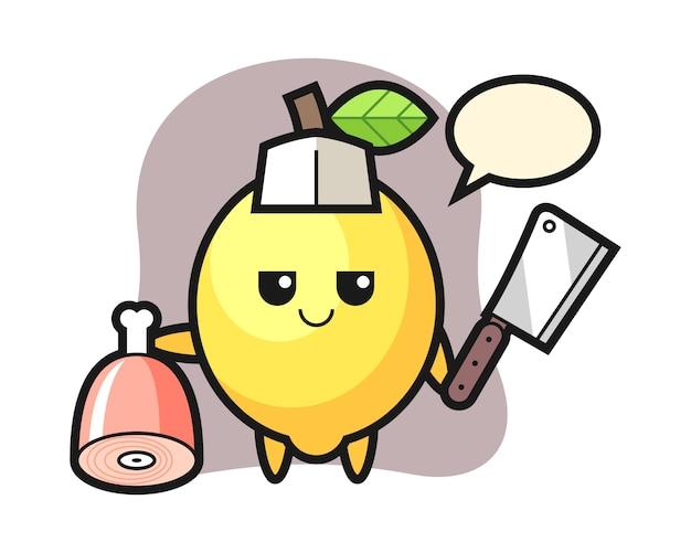 Ilustração de personagem de limão como açougueiro