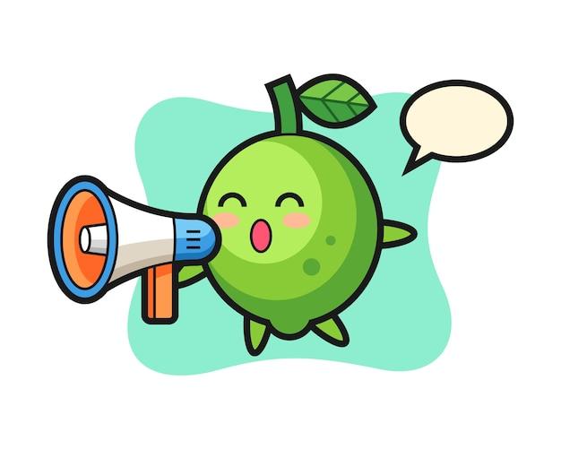 Ilustração de personagem de limão segurando um megafone, estilo fofo, adesivo, elemento de logotipo