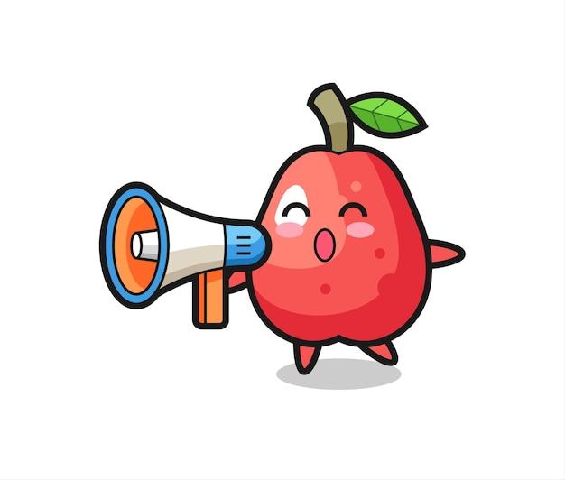 Ilustração de personagem de maçã d'água segurando um megafone, design de estilo fofo para camiseta, adesivo, elemento de logotipo