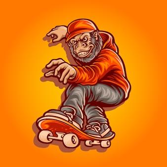 Ilustração de personagem de macaco de skate