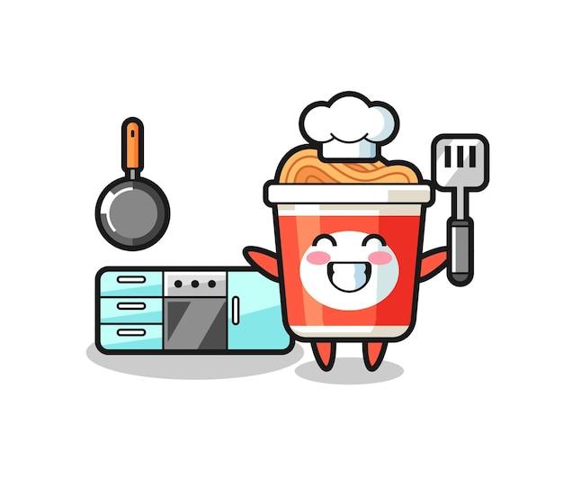 Ilustração de personagem de macarrão instantâneo enquanto um chef está cozinhando, design de estilo fofo para camiseta, adesivo, elemento de logotipo