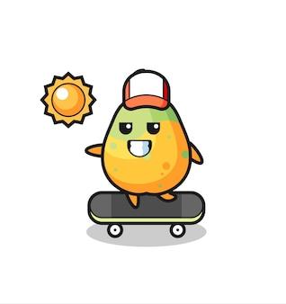 Ilustração de personagem de mamão andar de skate, design de estilo fofo para camiseta, adesivo, elemento de logotipo