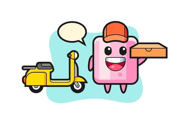 Ilustração de personagem de marshmallow como entregador de pizza, design de estilo fofo para camiseta, adesivo, elemento de logotipo Vetor Premium