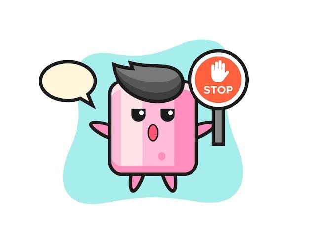 Ilustração de personagem de marshmallow segurando uma placa de pare, design de estilo fofo para camiseta, adesivo, elemento de logotipo