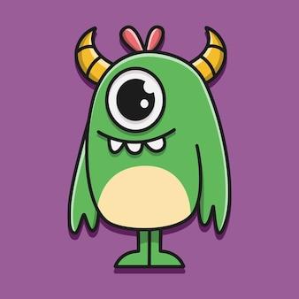 Ilustração de personagem de monstro kawaii doodle