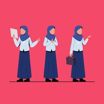 Ilustração de personagem de mulher de negócios muçulmano