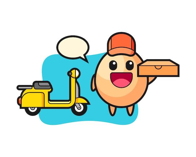 Ilustração de personagem de ovo como entregador de pizza, design de estilo bonito para camiseta, adesivo, elemento de logotipo