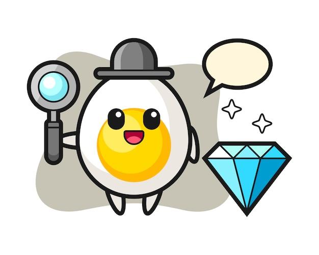 Ilustração de personagem de ovo cozido com um diamante