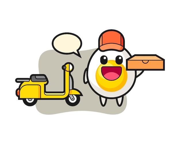 Ilustração de personagem de ovo cozido como entregador de pizza