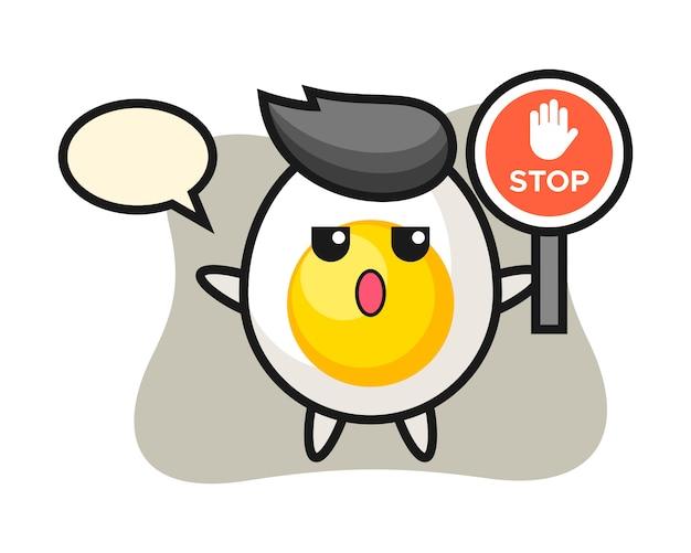 Ilustração de personagem de ovo cozido, segurando uma placa de pare
