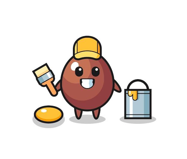 Ilustração de personagem de ovo de chocolate como um pintor, design fofo