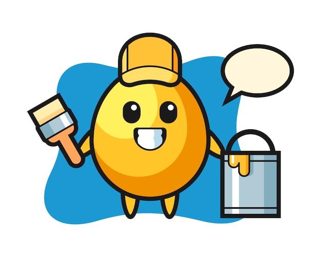 Ilustração de personagem de ovo de ouro como pintor, design de estilo bonito