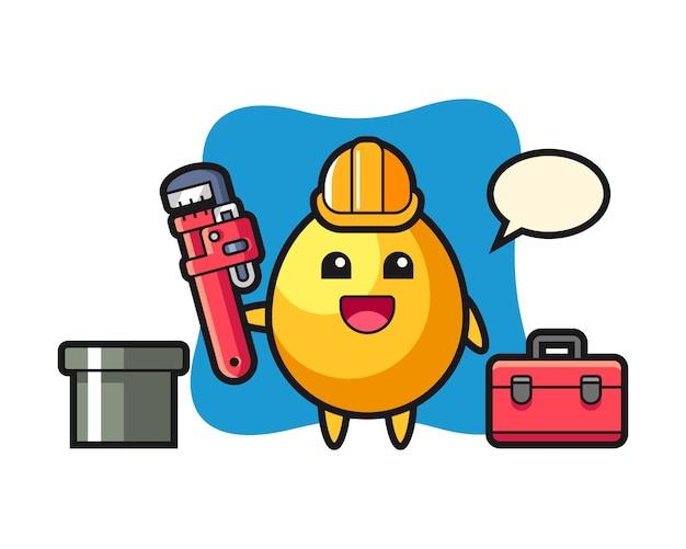 Ilustração de personagem de ovo de ouro como um encanador, design de estilo bonito