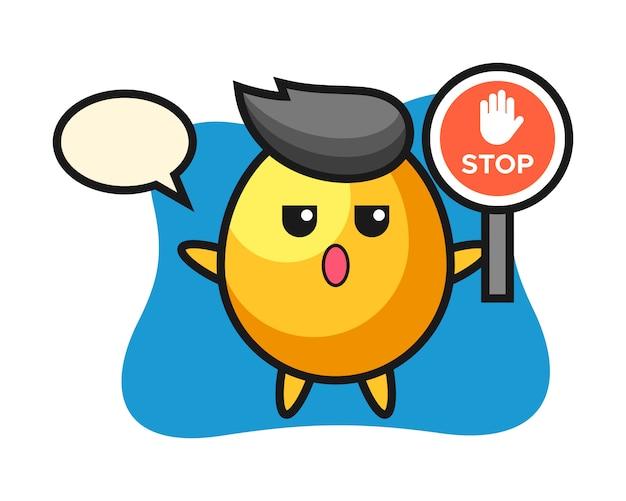 Ilustração de personagem de ovo de ouro segurando uma placa de pare, design de estilo bonito