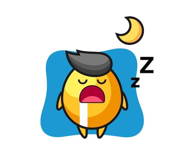 Ilustração de personagem de ovo dourado dormindo à noite, design de estilo bonito