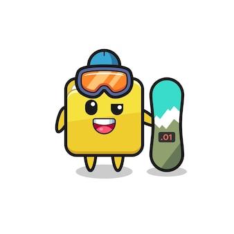 Ilustração de personagem de pasta com estilo de snowboard, design de estilo fofo para camiseta, adesivo, elemento de logotipo