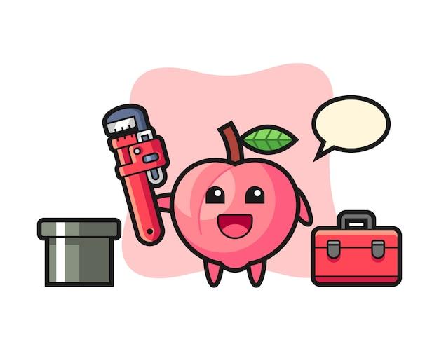 Ilustração de personagem de pêssego como um encanador, design de estilo bonito para camiseta