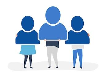 Ilustração de personagem de pessoas segurando ícones de conta de usuário