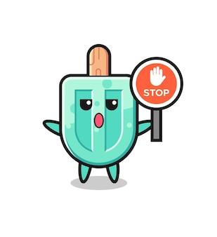Ilustração de personagem de picolé segurando uma placa de pare, design fofo
