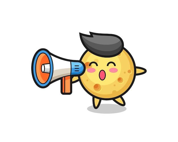 Ilustração de personagem de queijo redondo segurando um megafone, design de estilo fofo para camiseta, adesivo, elemento de logotipo