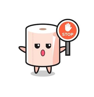 Ilustração de personagem de rolo de tecido segurando uma placa de pare, design fofo