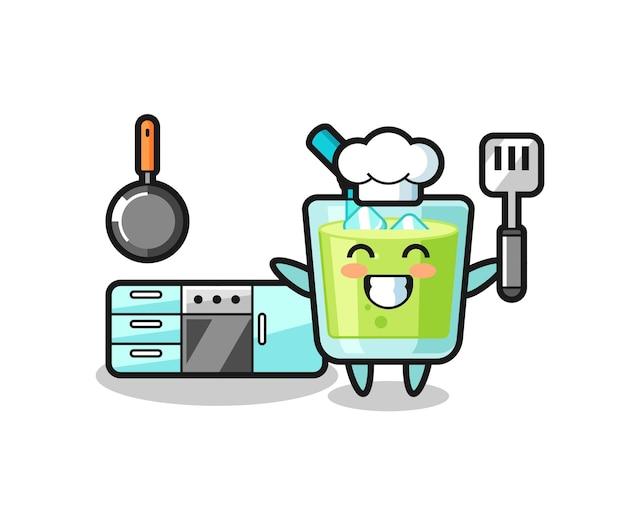 Ilustração de personagem de suco de melão enquanto o chef está cozinhando, design de estilo fofo para camiseta, adesivo, elemento de logotipo