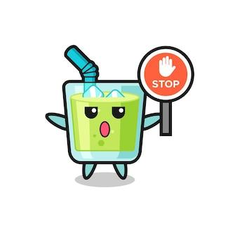 Ilustração de personagem de suco de melão segurando uma placa de pare, design de estilo fofo para camiseta, adesivo, elemento de logotipo
