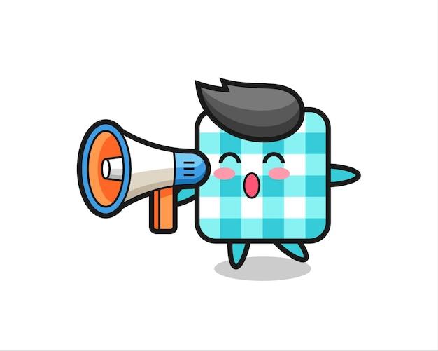 Ilustração de personagem de toalha de mesa quadriculada segurando um megafone, design de estilo fofo para camiseta, adesivo, elemento de logotipo