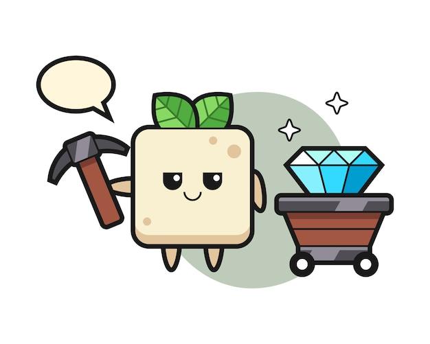 Ilustração de personagem de tofu como mineiro, design de estilo bonito para camiseta