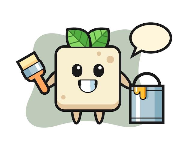 Ilustração de personagem de tofu como pintor, design de estilo bonito para camiseta