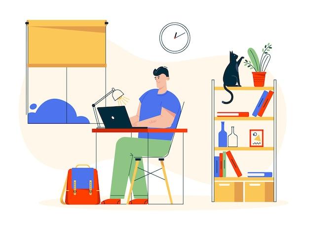 Ilustração de personagem de trabalho em casa. homem trabalhador remoto sentado na mesa, trabalhando no laptop. interior do escritório em casa, estante, animal de estimação, local de trabalho confortável. freelancer em estúdio criativo