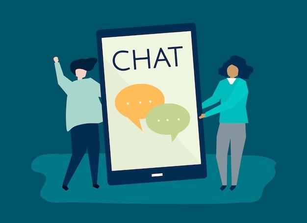 Ilustração de personagem de um casal e um ícone de mensagens de texto