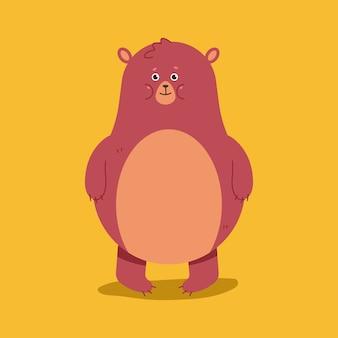 Ilustração de personagem de urso bonito dos desenhos animados isolada no fundo.