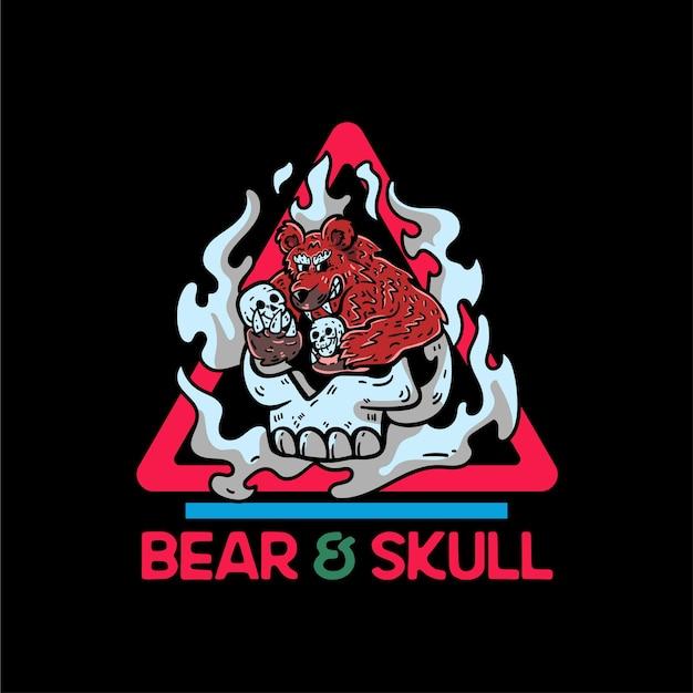 Ilustração de personagem de urso e crânio