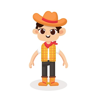 Ilustração de personagem de vaqueiro bonito com estilo cartoon