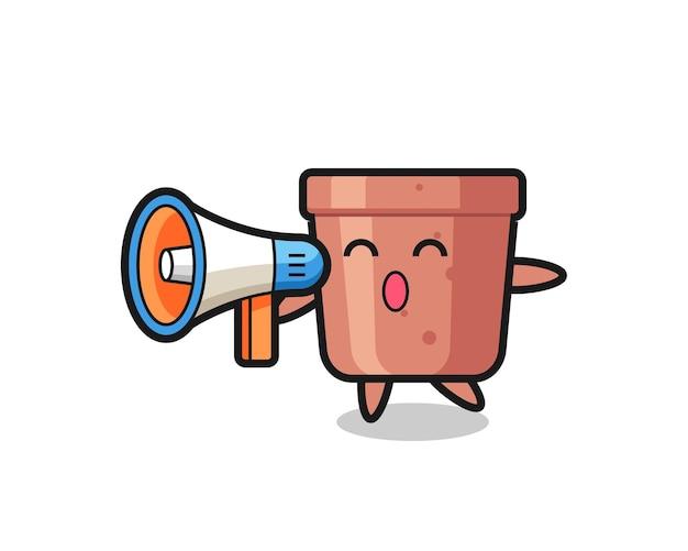 Ilustração de personagem de vaso de flores segurando um megafone, design de estilo fofo para camiseta, adesivo, elemento de logotipo